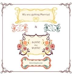 Wedding graphic set Vintage border pack vector image vector image