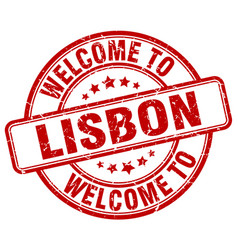 Welcome to lisbon red round vintage stamp vector
