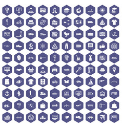 100 logistic and delivery icons hexagon purple vector image