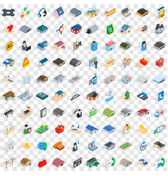 100 shed icons set isometric 3d style vector image vector image
