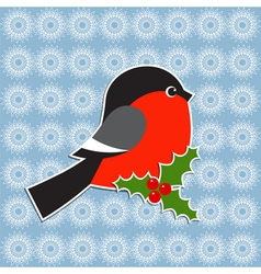 Bullfinch and holly berry vector