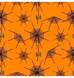 Halloween party spider net orange pattern vector