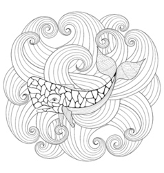 Sperm whale in waves zentangle style freehand vector