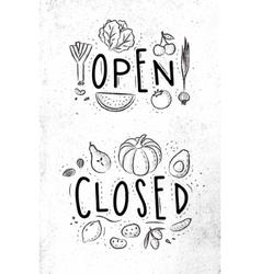 Eco signboard open close vector