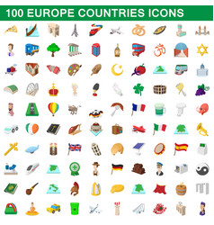 100 europe countries icons set cartoon style vector