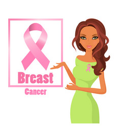 beautiful woman wearing pink ribbons to raise vector image
