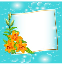 Background with blue flowers and patches vector