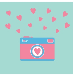 Photo camera with hearts love card vector
