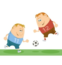 Football players playing soccer vector