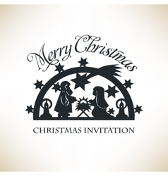 Simple nativity scene christmas invitation vector