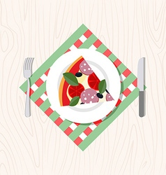 Top view of a slice of pizza on a plate cutlery vector