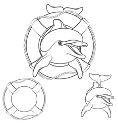 Set of dolphin logo design element vector