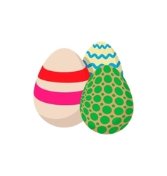 Three colorful easter eggs cartoon icon vector