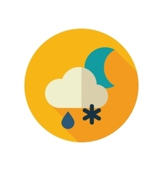 Cloud snow rain moon flat icon weather vector