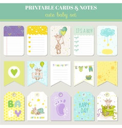 Baby boy card set - with cute giraffe vector