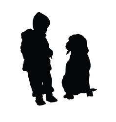 Child with dog silhouette vector