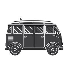 Travel omnibus outline silhouette icon vector