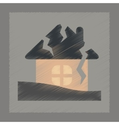Flat shading style icon house crash vector