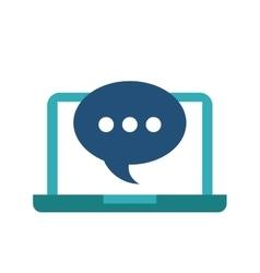 Bubble and laptop icon media design vector