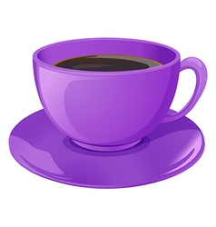 A violet cup with coffee vector