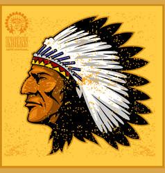 american native chief head vector image vector image