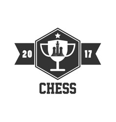 big chess competition 2017 black and white emblem vector image