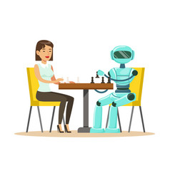 Businessman and robot playing chess vector
