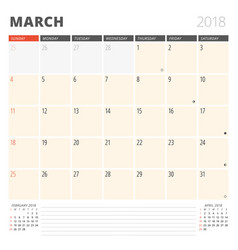 Calendar planner for march 2018 design template vector