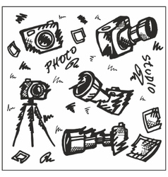 Cameras Hand-painted Black vector image
