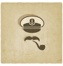 Captain mustache pipe old background vector