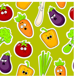 Cartoon vegetable faces seamless background vector