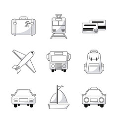 collection travel world transport equipment vector image vector image