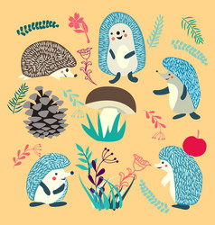 cute hedgehog forest animals set vector image