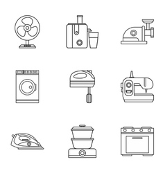 Devices for home icons set outline style vector