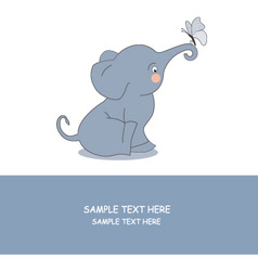 elephant and butterfly vector image vector image