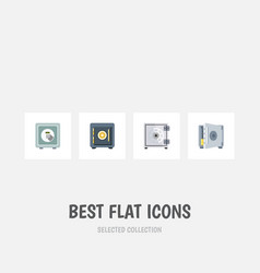 flat icon strongbox set of security coins saving vector image vector image