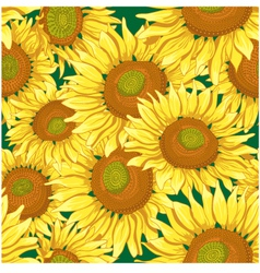 Floral seamless background with sunflowers vector image vector image