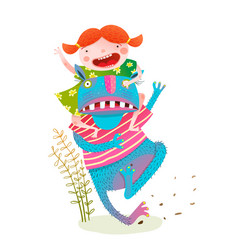 Fun baby girl riding playing fairy tale monster vector