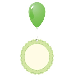 Green balloon with vintage tag vector