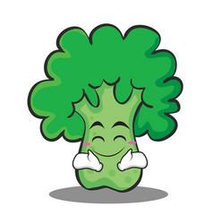 happy broccoli chracter cartoon style vector image vector image