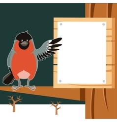 Happy Bullfinch on the Tree winter flat background vector image vector image