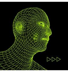 Head 3d grid geometric face design vector
