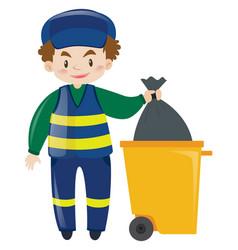 Janitor throwing away garbage vector