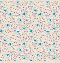 love mail seamless pattern - envelopes and hearts vector image