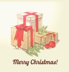 merry christmas hand drawn greeting card vector image