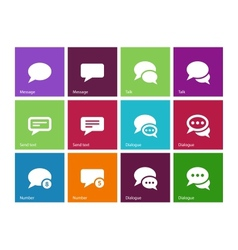 Message bubble icons on color background vector image vector image