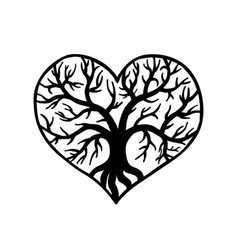 Openwork heart with a tree inside laser cutting vector