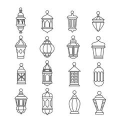 Ramadan vintage lantern linear icons vector