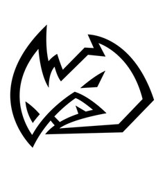 rhino horns animal cartoon icon vector image