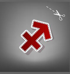 Sagittarius sign red icon vector